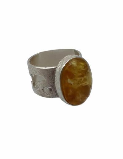 Ring Silber Bernstein Gr. 56b