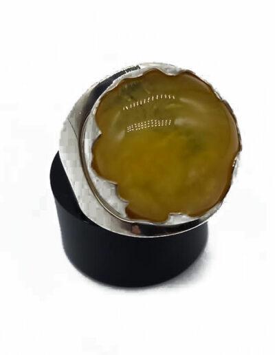 Ring Silber Bernstein Gr. 58 1